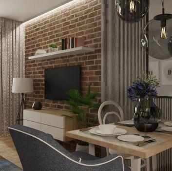 Ceglany salon z telewizorem, oknem balkonowym i dwoma, drewnianymi stolikami