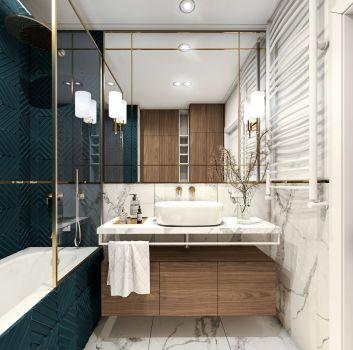 Marmurowa łazienka z zabudowaną w płytkach wanną, drewnianą szafką z umywalką nablatową oraz toaletą