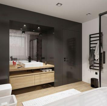 Betonowa łazienka z czarnym prysznicem, wanną wolnostojącą i drewnianą szafką z umywalką nablatową