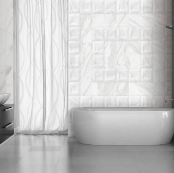 łazienka z płytkami 3D i marmurkiem