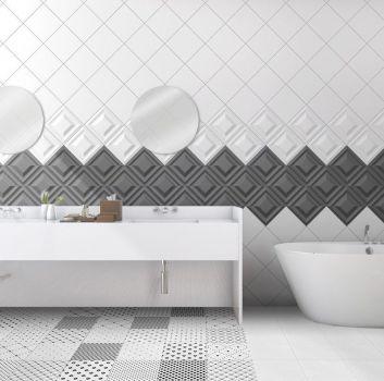 Biało-czarna łazienka z wanną wolnostojącą, białą zabudową z dwoma wbudowanymi umywalkami i dwoma okrągłymi lustrami