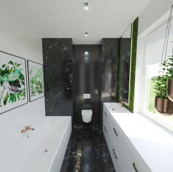 Szaro-biała łazienka z wanną zabudowaną w pytkach, toaletą oraz białymi szafkami z umywalką nablatową
