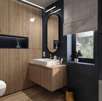 Granatowa łazienka z toaletą, drewnianą szafką z umywalką nablatową oraz obudowaną wanną