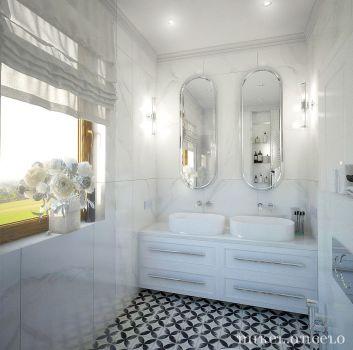 Biała łazienka z dwoma półkami z umywalkami nablatowymi, toaletą i wanną wolnostojącą