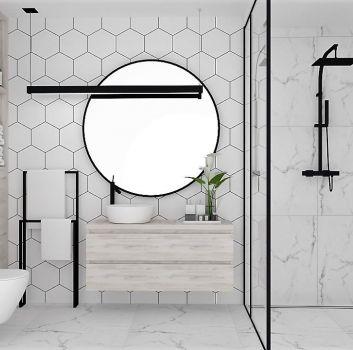 Biała łazienka z czarnym prysznicem, drewnianą półką z umywalką nablatową oraz toaletą