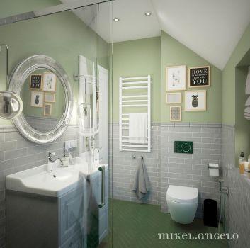 Szaro-zielona łazienka z toaletą, prysznicem i szarą szafką z wbudowaną umywalką