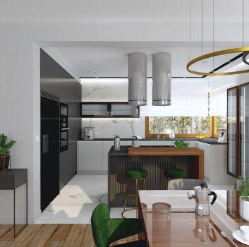 Biała kuchnia z czarno-białymi meblami, wyspą z dwoma zielonymi hokerami oraz dwoma oknami