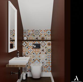 Multikolorowa toaleta z białym lustrem, drewnianym blatem z umywalką nablatową oraz drewnianym blatem nad toaletą