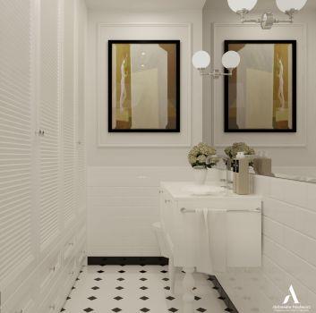 Biało-czarna toaleta z białą szafką z wbudowaną umywalką, lustrem oraz dwoma klasycznymi lampami