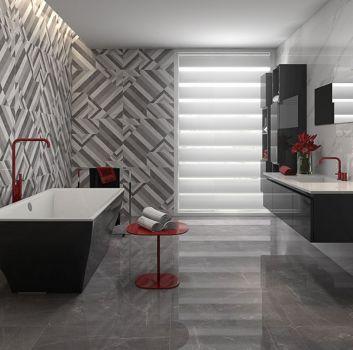 Szaro-biała łazienka z wanną wolnostojącą, połyskującą półką z wbudowaną umywalką oraz dwa grafitowe słupki