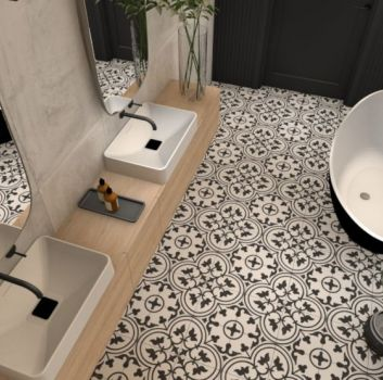 Aranżacja przestronnej łazienki z dwoma umywalkami nablatowymi, wanną wolnostojącą i płytkami Codcier Arte White