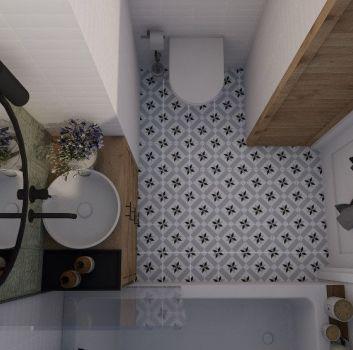 Biało-zielona łazienka z toaletą, wanną oraz drewnianą szafką z okrągłą umywalką nablatową