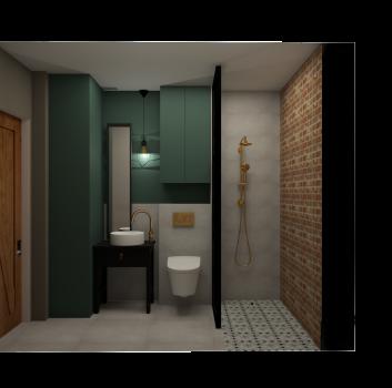 Zielono-biała łazienka z ceglaną ścianą w prysznicu, toaletą oraz drewnianym stolikiem z umywalką nablatową