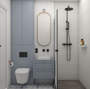 Biała łazienka z czarnym prysznicem, niebieską półką na której stoi umywalka nablatowa oraz toaletą