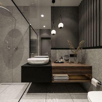 Szaro-beżowa łazienka z czarnym prysznicem, toaletą oraz drewnianą szafką z umywalką nablatową