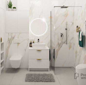 Biała łazienka z prysznicem, białą szafką z umywalką nablatową oraz toaletą