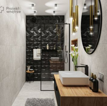 Szara łazienka z czarnym prysznicem, drewnianą szafką z umywalką nablatową i toaletą