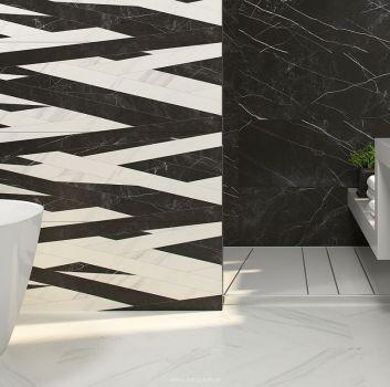 Biało-czarna łazienka z wanną wolnostojącą, szarym blatem z dwoma umywalkami nablatowymi oraz oknem