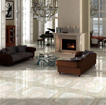 Przestronny salon z połyskującą podłogą, białym kominkiem i dwoma, brązowymi sofami
