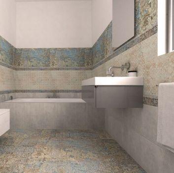 Multikolorowa łazienka z wbudowaną wanną, prostokątną umywalką z szarą półką oraz kwadratową toaletą