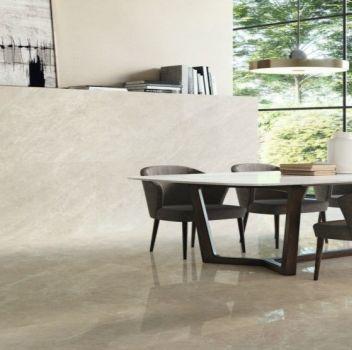 Baldocer salon w beżu marmur wysoki połysk nowoczesny salon salon w beżu