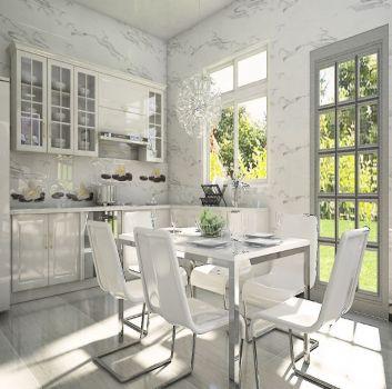 Marmurowa kuchnia z białymi meblami, biało-srebrnym stołem z 6 krzesłami oraz dwoma oknami