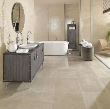 Peronda HETTANGIAN nowoczesna łazienka kremowy marmur wysoki połysk