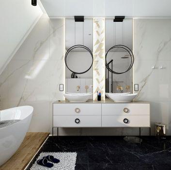 Biała łazienka z wanną wolnostojącą, dwoma szafkami z dwoma umywalkami nablatowymi oraz prysznicem