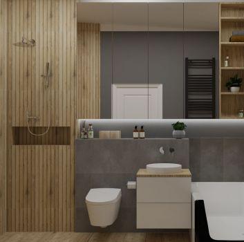 Szaro-drewniana łazienka z prysznicem, toaletą oraz wanną wolnostojącą