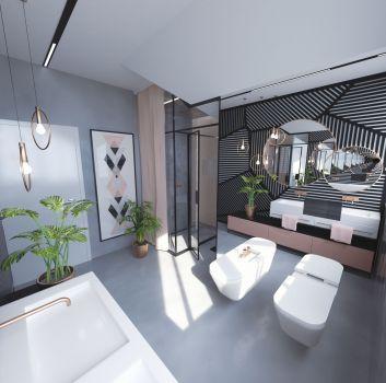 Szaro-różowa łazienka z toaletą, dwoma umywalkami nablatowymi oraz przejściem do części kąpielowej