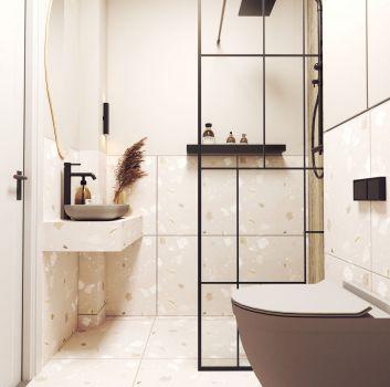 Nowoczesna mała łazienka z lastryko