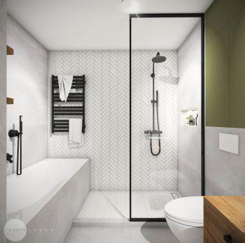 Biało-szara łazienka z wanną, czarnym prysznicem oraz toaletą