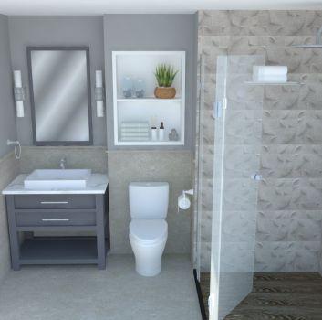 Szara łazienka z prysznicem, toaletą oraz drewnianą szafką z umywalką nablatową