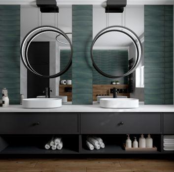 łazienka w szarościach i zieleni z dodatkiem drewna