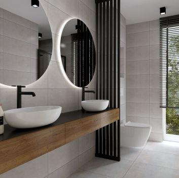 szara łazienka z akcentem drewna