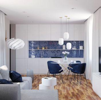 Niebieska kuchnia z białymi meblami, jadalnią oraz salonem