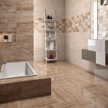 Beżowo-brązowa łazienka z zabudowaną wanną, półką w kształcie drabiny oraz oryginalą umywalką połączoną z małymi szafkami