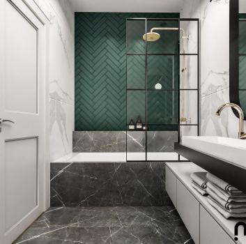marmurowa łazienka z płytkami w jodełkę