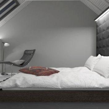 Biało-grafitowa sypialnia z drewnianym łóżkiem, szafką nocną oraz fotelem z lampą w rogu