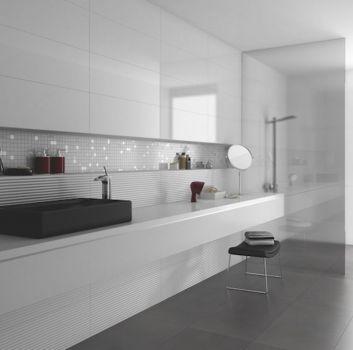 płytki łazienkowe szare monokolor nowoczesna łazienka