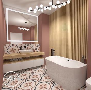Różowa łazienka z wanną wolnostojącą, drewnianym blatem z umywalką nablatową oraz toaletą