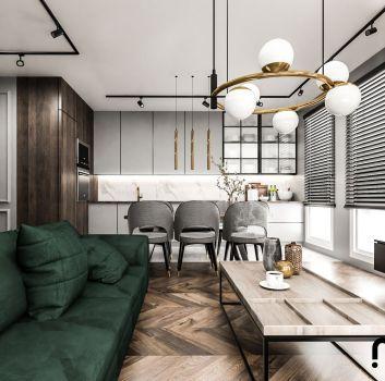 Salon z kuchnia w stylu loft