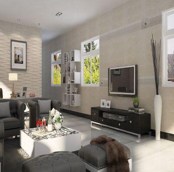 Beżowy salon z szarym kompletem wypoczynkowym, dużą ilością półek oraz trzema oknami