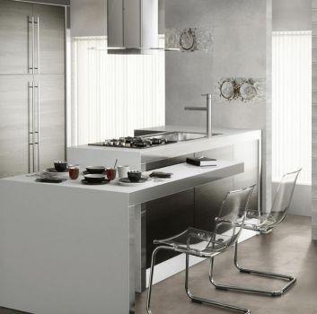 Biało-szara kuchnia z oryginalną wyspą z przezroczystymi krzesłami, dwoma piekarnikami oraz telewizorem