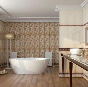 Beżowo-brązowa łazienka z wanną wolnostojącą, złotymi dodatkami oraz umywalką nablatową