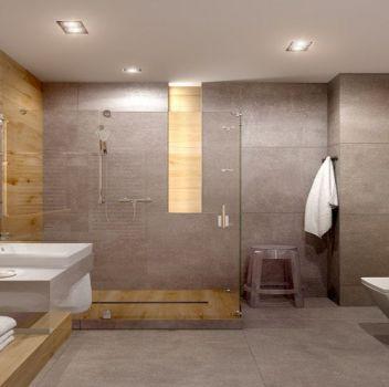Szara łazienka z dużym prysznicem, toaletą oraz białym blatem z umywalką nablatową