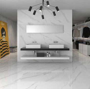 Biało-szara łazienka z drewnianym blatem z dwoma umywalkami nablatowymi, prostokątnym lustrem oraz oryginalnym oświetleniem