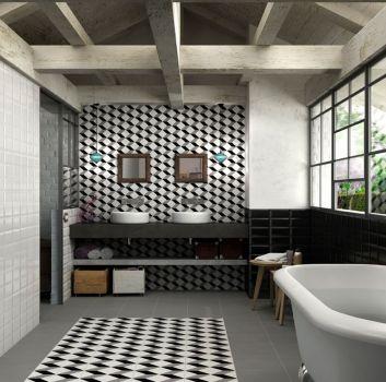 Łazienka w stylu wiejskim z płytkami cegiełkami i wanną wolnostojącą