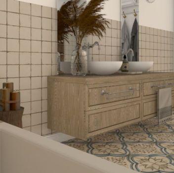 Inspiracja - rustykalna łazienka z płytkami Peronda FS Nijar i FS-0