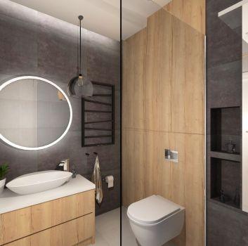 Łazienka - szary i drewno